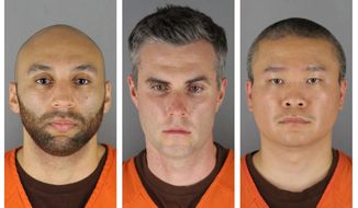 This combination of photos provided by the Hennepin County Sheriff's Office in Minnesota on Wednesday, June 3, 2020, shows from left, former Minneapolis police Officers J. Alexander Kueng, Thomas Lane and Tou Thao. Attorneys for the state and for the three former officers charged in the death of George Floyd are making oral arguments Thursday, May 20, 2021, before the Minnesota Court of Appeals. (Hennepin County Sheriff's Office via AP File)