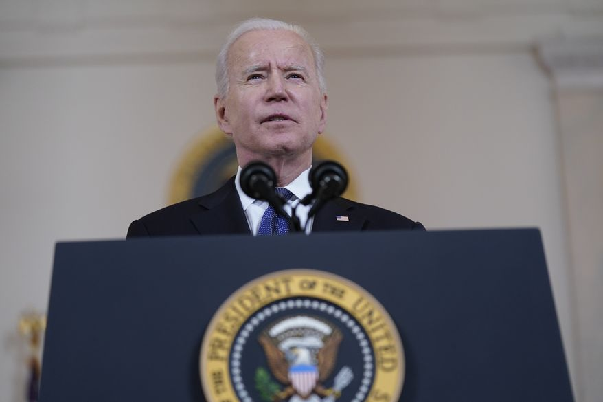 President Joe Biden speaks about a cease-fire between Israel and Hamas, in the Cross Hall of the White House, Thursday, May 20, 2021, in Washington. (AP Photo/Evan Vucci)