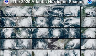 This combination of satellite images provided by the National Hurricane Center shows 30 hurricanes that occurred during the 2020 Atlantic hurricane season. According to a forecast by the U.S. National Oceanic and Atmospheric Administration released on Thursday, May 20, 2021, they expect another busy Atlantic hurricane season for 2021, but it won't be as crazy as the previous year's record-breaker. (National Hurricane Center via AP) **FILE**