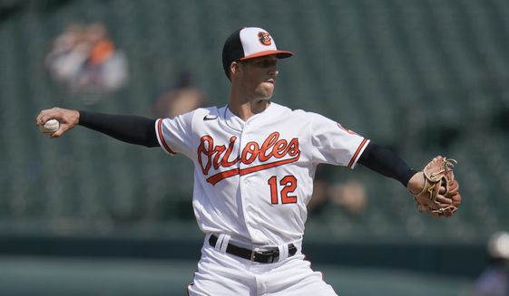 Baltimore Orioles position player Stevie Wilkerson pitches in relief against the Tampa Bay Rays during the ninth inning of a baseball game, Thursday, May 20, 2021, in Baltimore. The Rays won 10-1. (AP Photo/Julio Cortez)