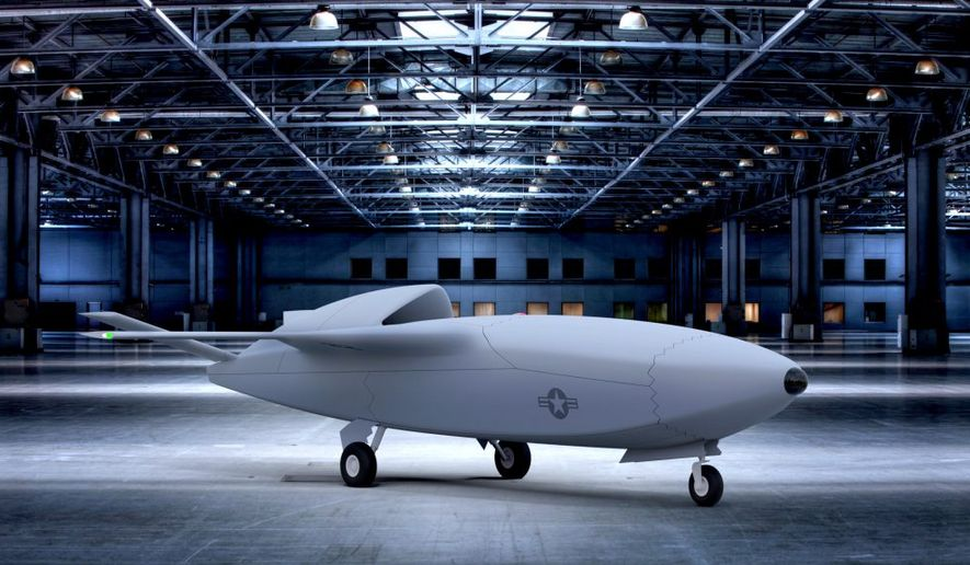 A Skyborg conceptual design for a low-cost Unmanned Combat Aerial Vehicle (UCAV), via the Air Force Research Lab. Artwork via AFRL. [https://afresearchlab.com/technology/vanguards/successstories/skyborg]