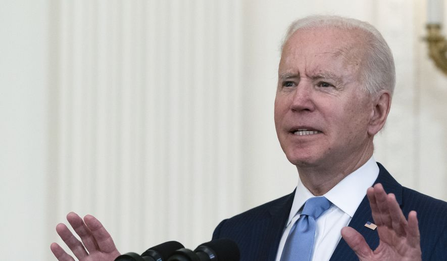 President Joe Biden speaks during a ceremony to present the Medal of Honor to U.S. Army Col. Ralph Puckett in the East Room of the White House, Friday, May 21, 2021, in Washington. (AP Photo/Alex Brandon) ** FILE **
