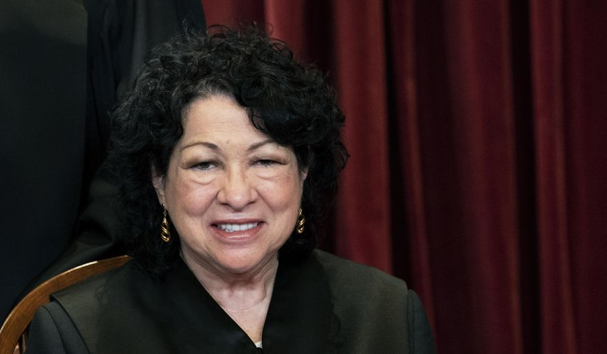 Associate Justice Sonia Sotomayor sits during a group photo at the Supreme Court in Washington, Friday, April 23, 2021. (Erin Schaff/The New York Times via AP, Pool) ** FILE **