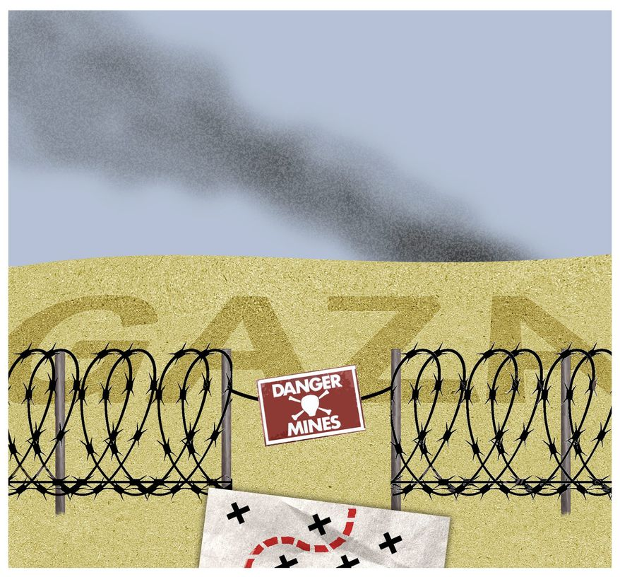 Illustration on the Israelis and Hamas and the situation in Gaza by Alexander Hunter/The Washington Times