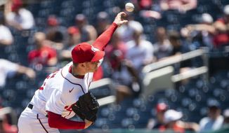 Washington Nationals starting pitcher Patrick Corbin delivers during the first inning of a baseball game against the Baltimore Orioles, Sunday, May 23, 2021, in Washington. (AP Photo/Al Drago)