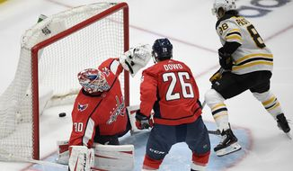 Boston Bruins right wing David Pastrnak (88) scores a goal past Washington Capitals goaltender Ilya Samsonov (30) and center Nic Dowd (26) during the second period in Game 5 of an NHL hockey Stanley Cup first-round playoff series, Sunday, May 23, 2021, in Washington. (AP Photo/Nick Wass)