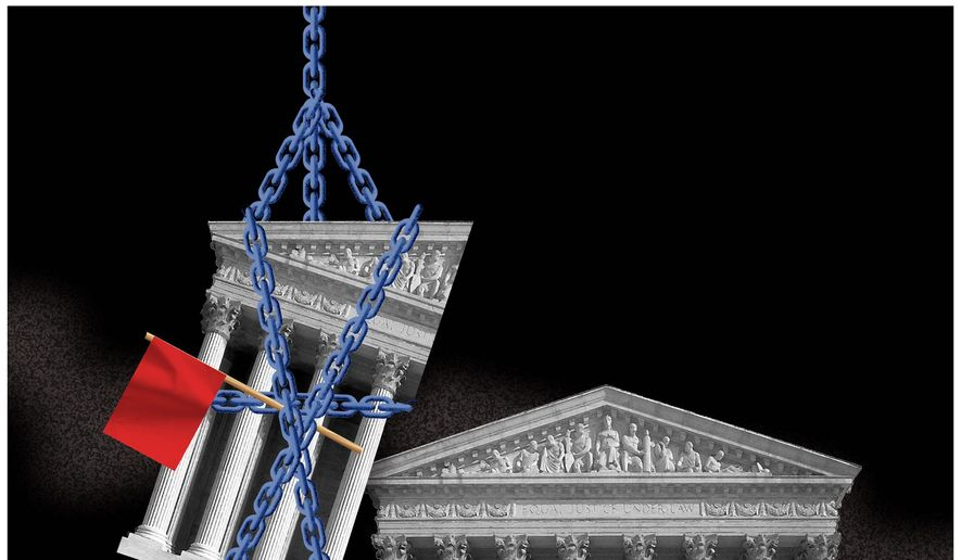 Illustration on Supreme Court packing by Alexander Hunter/The Washington Times