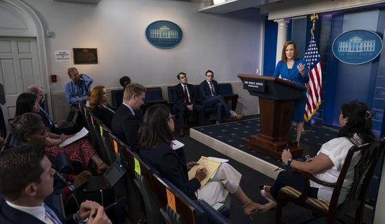 White House press secretary Jen Psaki speaks during a press briefing at the White House, Monday, May 24, 2021, in Washington. (AP Photo/Evan Vucci)