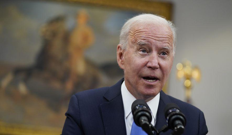 President Joe Biden speaks in the Roosevelt Room of the White House in Washington. (AP Photo/Evan Vucci)