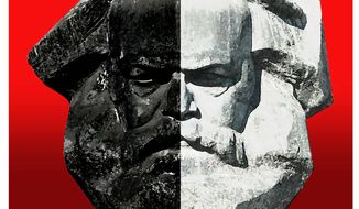 Illustration on the Marxist origins of critical race theory by Alexander Hunter/The Washington Times