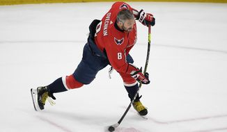 Washington Capitals left wing Alex Ovechkin warms up before Game 5 of an NHL hockey Stanley Cup first-round playoff series against the Boston Bruins, Sunday, May 23, 2021, in Washington. (AP Photo/Nick Wass)