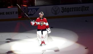 Florida Panthers goaltender Spencer Knight acknowledges the crowd after Game 5 of an NHL hockey Stanley Cup first-round playoff series against the Tampa Bay Lightning, Monday, May 24, 2021, in Sunrise, Fla. (AP Photo/Lynne Sladky) **FILE**