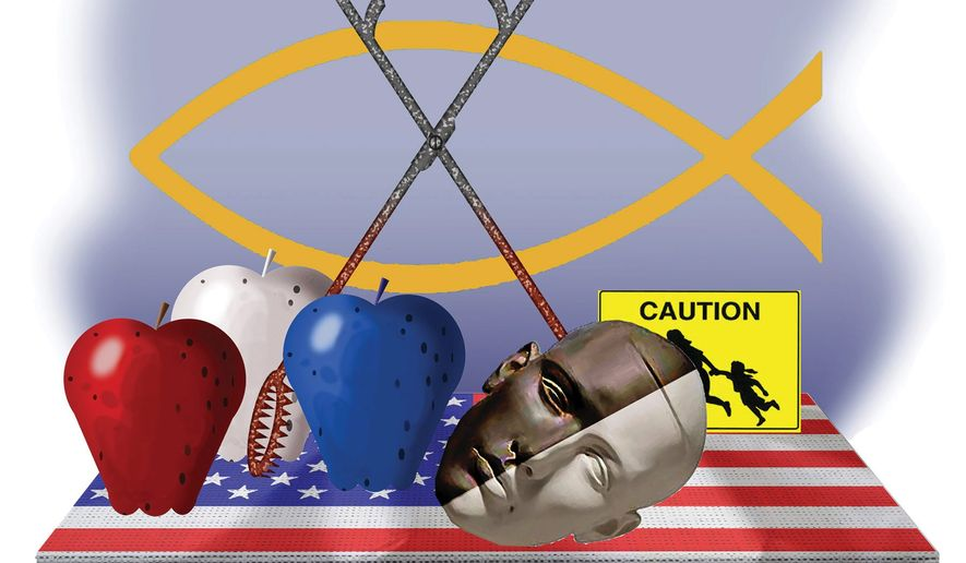 Illustration on issues for American culture wars and politics by Alexander Hunter/The Washington Times