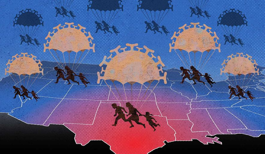 Illegal Alien Immigration Drop Zone Illustration by Greg Groesch/The Washington Times