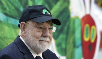 """Author Eric Carle reads his classic children's book """"The Very Hungry Caterpillar"""" on the NBC """"Today"""" television program in New York on Oct. 8, 2009, as part of Jumpstart's 4th annual National Read for the Record Day. (AP Photo/Richard Drew, File)"""