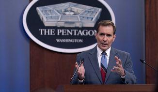 Pentagon spokesman John Kirby speaks during a media briefing at the Pentagon in Washington, Wednesday, May 26, 2021. (AP Photo/Andrew Harnik)