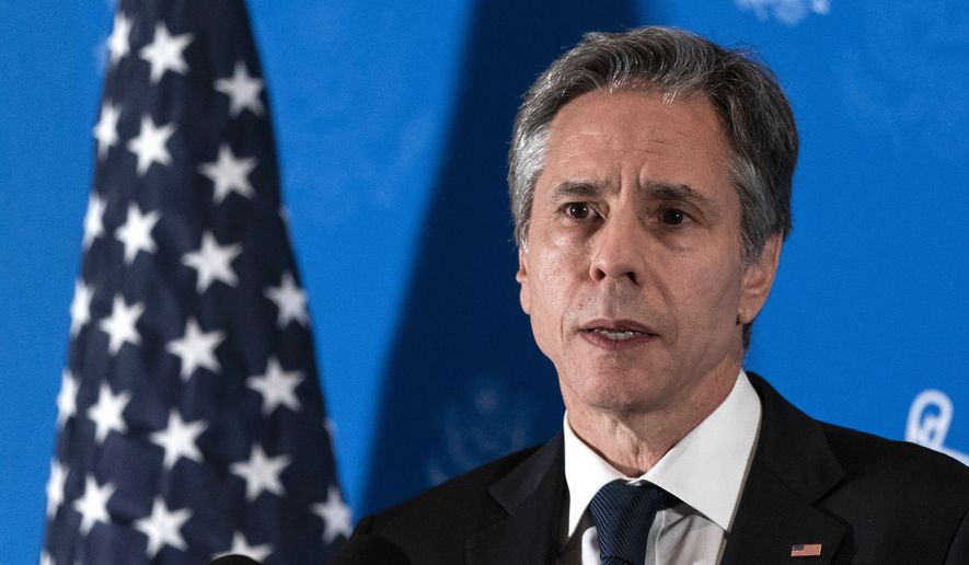 Secretary of State Antony Blinken speaks with reporters during a news conference at his hotel, Tuesday, May 25, 2021, in Jerusalem. (AP Photo/Alex Brandon, Pool)