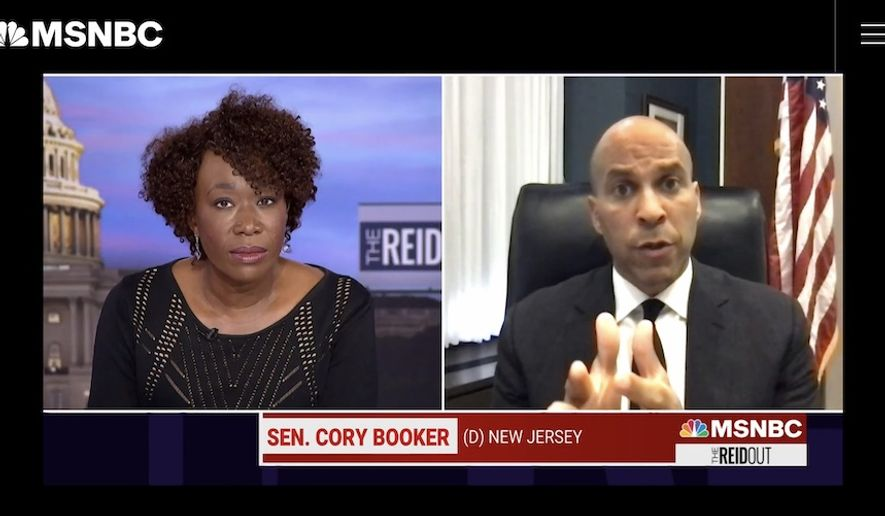 """Democratic Sen. Cory Booker on Tuesday assured MSNBC host Joy Reid that Republican Sen. Tim Scott is being """"sincere"""" in his bipartisan push for police reform. (Screengrab via MSNBC)"""