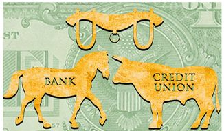 Illustration on bank/credit union mergers by Alexander Hunter/The Washington Times