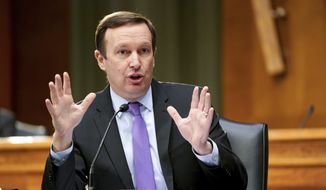Sen. Chris Murphy, D-Conn., speaks during a Senate Health, Education, Labor, and Pensions hearing on Capital Hill in Washington, in this Tuesday, May 11, 2021, file photo. College athletes would have the right to organize and collectively bargain with schools and conferences under a bill introduced Thursday, May 27, by Democratic lawmakers in the House and Senate.  Sen. Chris Murphy (Conn.) and Sen. Bernie Sanders (Vt.)  announced the College Athletes Right to Organize Act. (Jim Lo Scalzo/Pool via AP, File) **FILE**