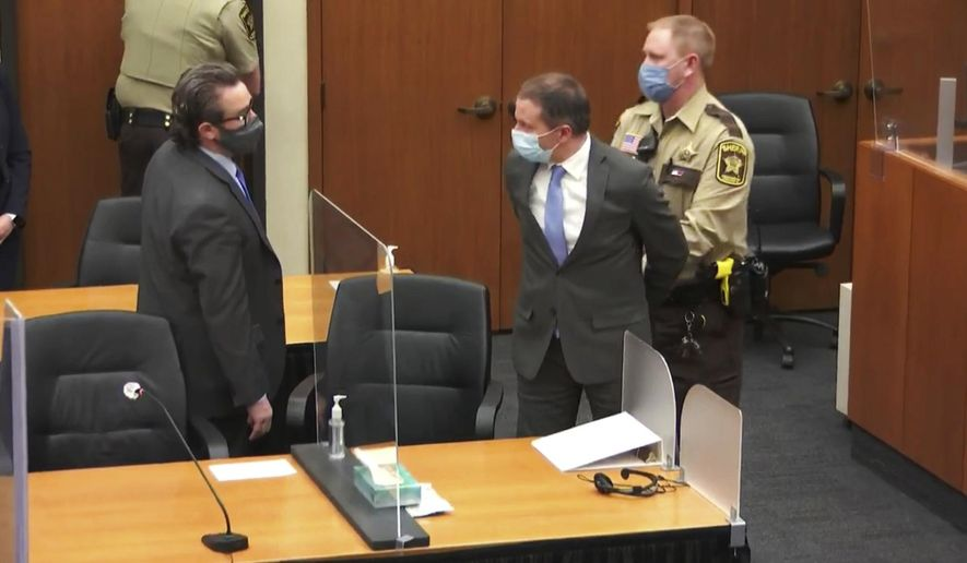 In this April 20, 2021, file image from video, former Minneapolis police Officer Derek Chauvin, center, is taken into custody as his attorney, Eric Nelson, left, looks on, after the verdicts were read at Chauvin's trial for the 2020 death of George Floyd, at the Hennepin County Courthouse in Minneapolis, Minn. In a ruling May 12, 2021, Judge Cahill finds aggravating factors in death of George Floyd, paving way for tougher sentence for Chauvin. (Court TV via AP, Pool, File)
