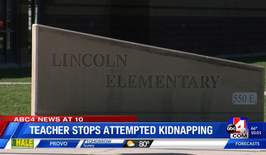 A Utah teacher is being hailed a hero after police say he pulled his concealed firearm on a manwho tried to kidnap an 11-year-old student. (Screengrab via ABC4)