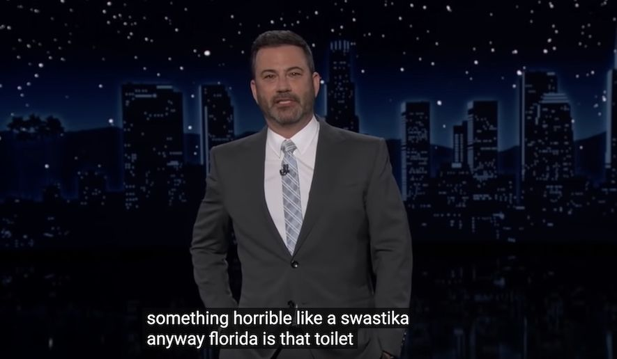 """Jimmy Kimmel likens Florida to a toliet seat with a """"swastika carved into it"""" during a May 25, 2021 broadcast of his ABC show. (Image: ABC, """"Jimmy Kimmel Live,"""" video screenshot)"""
