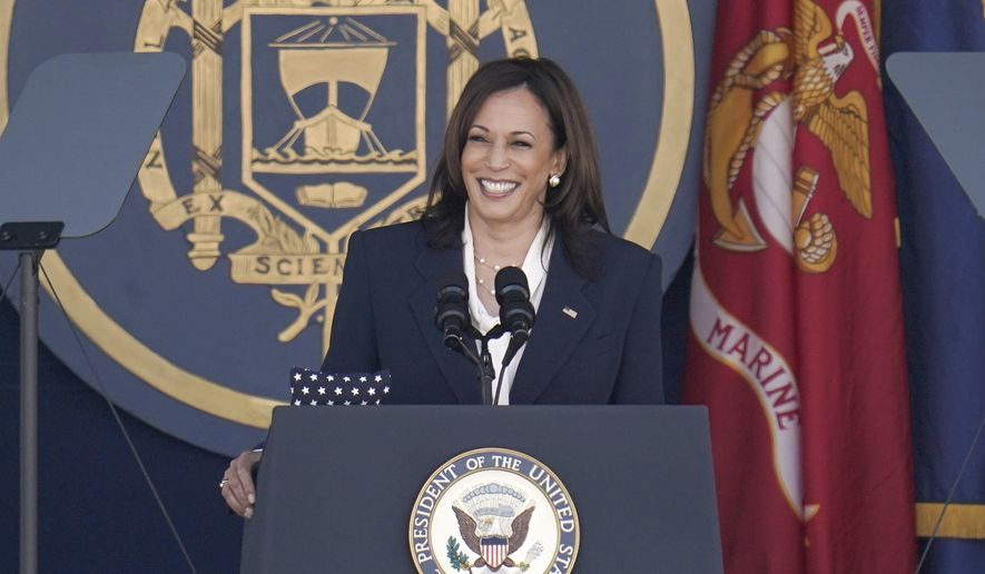 Vice President Kamala Harris speaks at the graduation and commission ceremony at the U.S. Naval Academy in Annapolis, Md., Friday, May 28, 2021. Harris is the first woman to deliver the commencement address at the Naval Academy. (AP Photo/Julio Cortez)