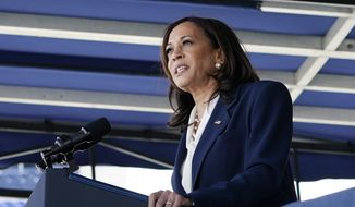 Vice President Kamala Harris speaks at the graduation and commissioning ceremony at the U.S. Naval Academy in Annapolis, Md., Friday, May 28, 2021, in this file photo. (AP Photo/Susan Walsh) ** FILE **