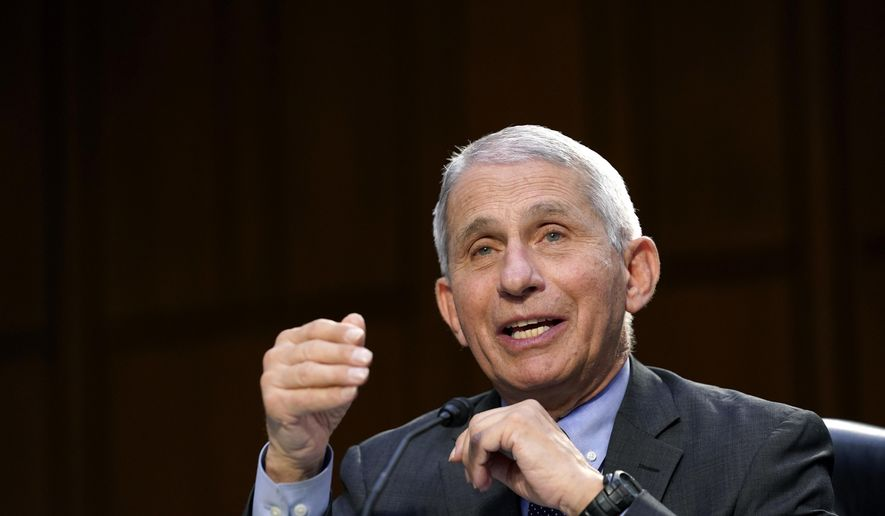 In this March 18, 2021, photo, Dr. Anthony Fauci, director of the National Institute of Allergy and Infectious Diseases, testifies during a Senate Health, Education, Labor and Pensions Committee hearing on the federal coronavirus response on Capitol Hill in Washington. (AP Photo/Susan Walsh, Pool) **FILE**
