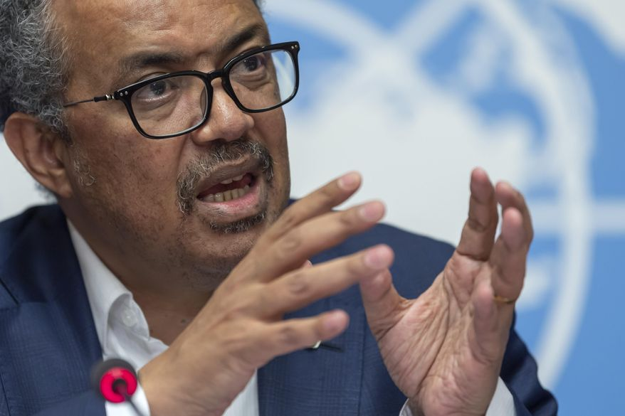 In this Thursday, March 14, 2019, file photo, Tedros Adhanom Ghebreyesus, director-general of the World Health Organization (WHO), speaks at the European headquarters of the United Nations in Geneva, Switzerland, about the update on WHO Ebola operations in the Democratic Republic of the Congo (DRC). (Martial Trezzini/Keystone via AP, File)
