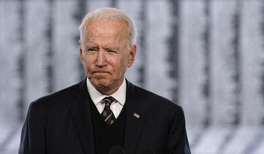 President Joe Biden speaks at a Memorial Day event at Veterans Memorial Park at the Delaware Memorial Bridge in New Castle, Del., Sunday, May 30, 2021. (AP Photo/Patrick Semansky)