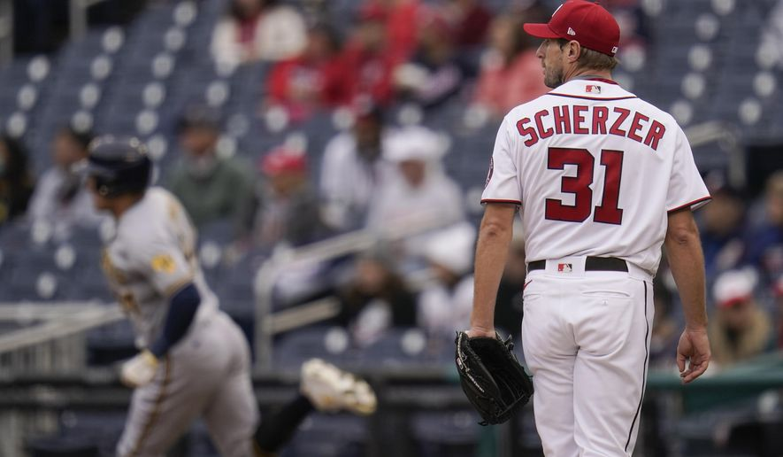 Max Scherzer, shown here earlier this season in a game against the Milwaukee Brewers, may have pitched his last game in a Washington Nationals uniform Thursday. (AP File Photo/Julio Cortez)