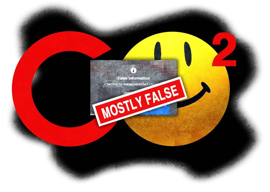 Illustration on controversy over CO2 and fact checking by Alexander Hunter/The Washington Times
