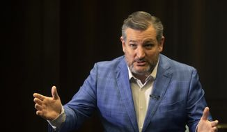 U.S. Sen. Ted Cruz gestures as he speaks during an interview with The Associated Press in Jerusalem, Monday, May 31, 2021. (AP Photo/Sebastian Scheiner) ** FILE **