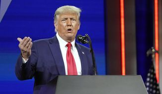 Former President Donald Trump speaks at the Conservative Political Action Conference on Feb. 28, 2021, in Orlando, Fla. (AP Photo/John Raoux) **FILE**