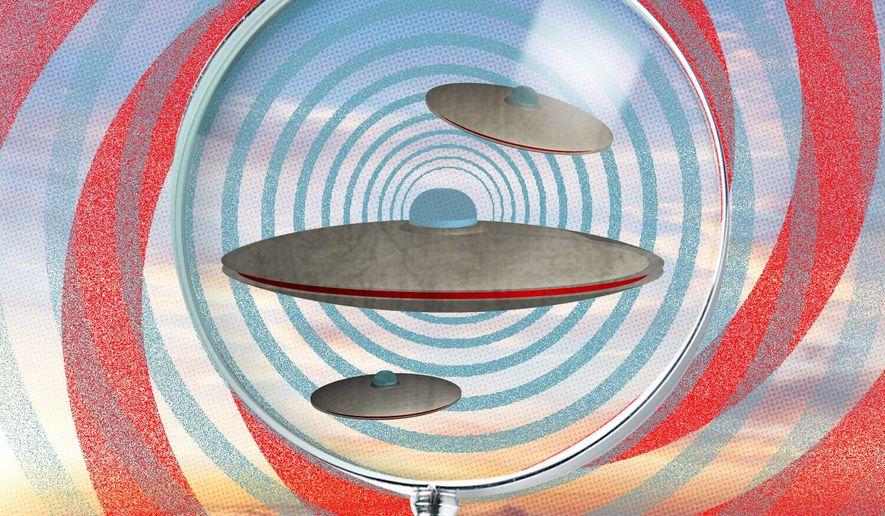 Illustration on UFOs by Linas Garsys/The Washington Times