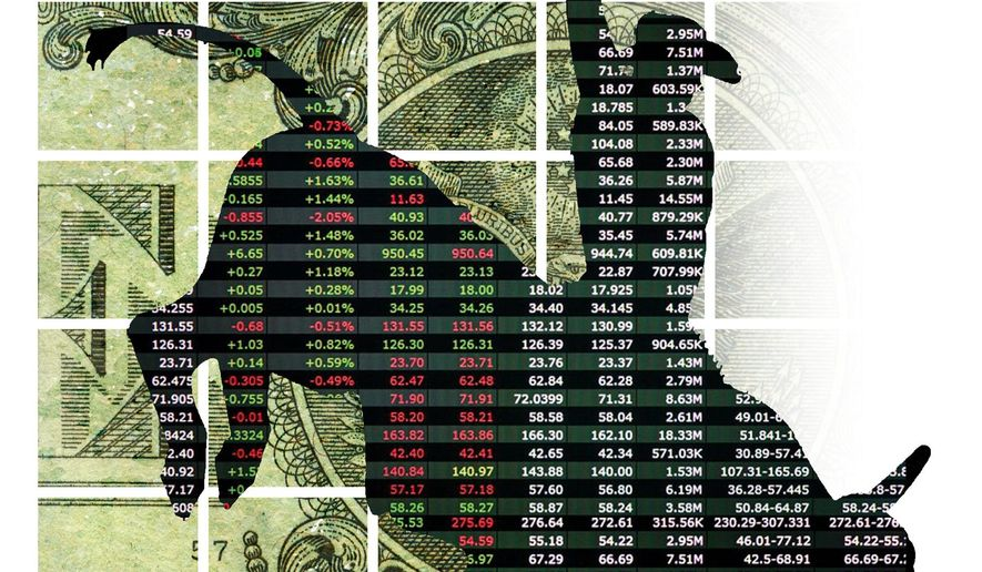 Illustration on the current stock market and its hazards by Alexander Hunter/The Washington Times