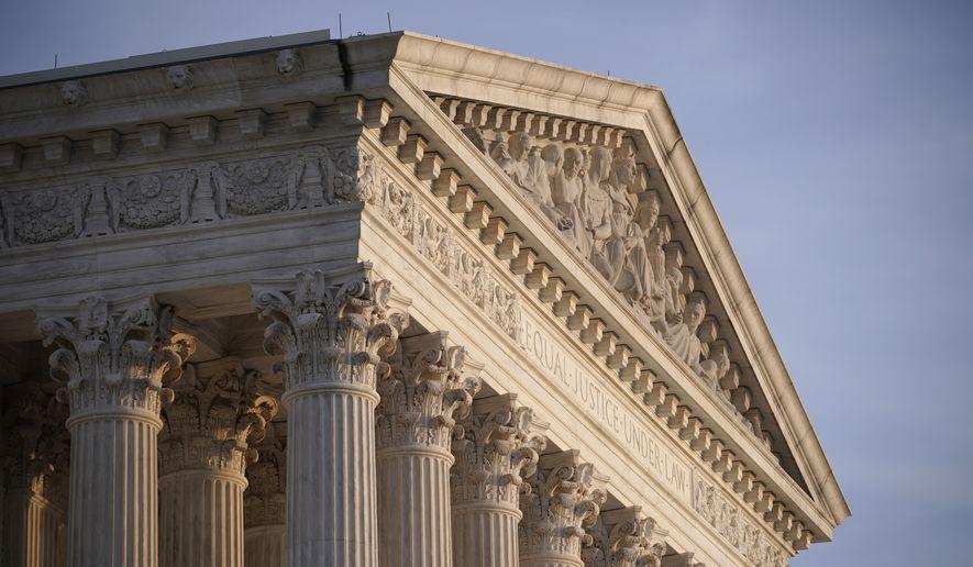 This Nov. 5, 2020, file photo shows the Supreme Court in Washington. (AP Photo/J. Scott Applewhite, File)