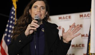 In this Nov. 3, 2020, file photo, Republican Nancy Mace talks to supporters during her election night party in Mount Pleasant, S.C. U.S. Rep. Nancy Mace on Tuesday, June 1, 2021, posted a video of obscenities that she said had been spray-painted on her Charleston-area home over the Memorial Day weekend. (AP Photo/Mic Smith, File)