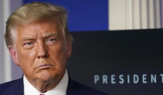 In this Friday, Nov. 20, 2020, photo, President Donald Trump listens during an event in the briefing room of the White House in Washington. (AP Photo/Susan Walsh) **FILE**