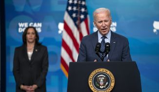 Vice President Kamala Harris listens as President Joe Biden speaks about the COVID-19 vaccination program, in the South Court Auditorium on the White House campus, Wednesday, June 2, 2021, in Washington. (AP Photo/Evan Vucci) **FILE**