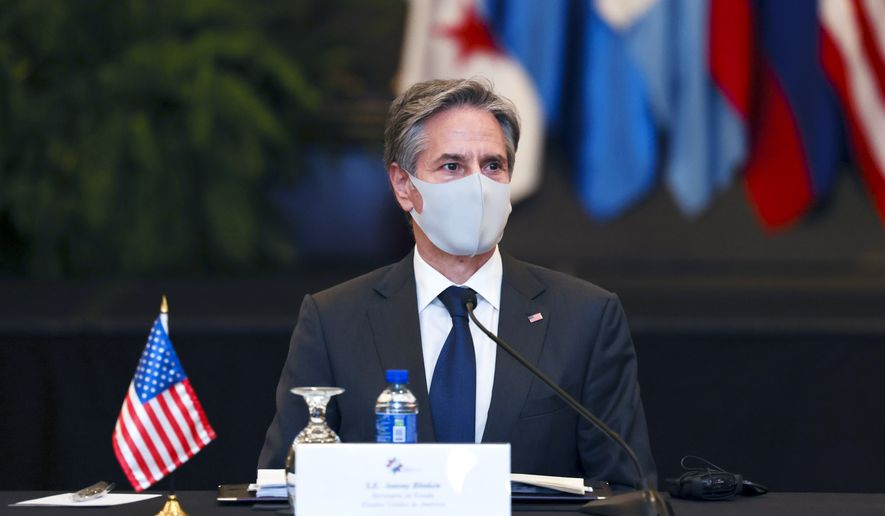 U.S. Secretary of State Antony Blinken attends a meeting with the foreign ministers of Mexico and Central American Integration System (SICA) member states at Intercontinental Hotel Costa Rica,  in San Jose, Costa Rica, Tuesday,  June 1, 2021. (Evelyn Hockstein/Pool via AP) **FILE**