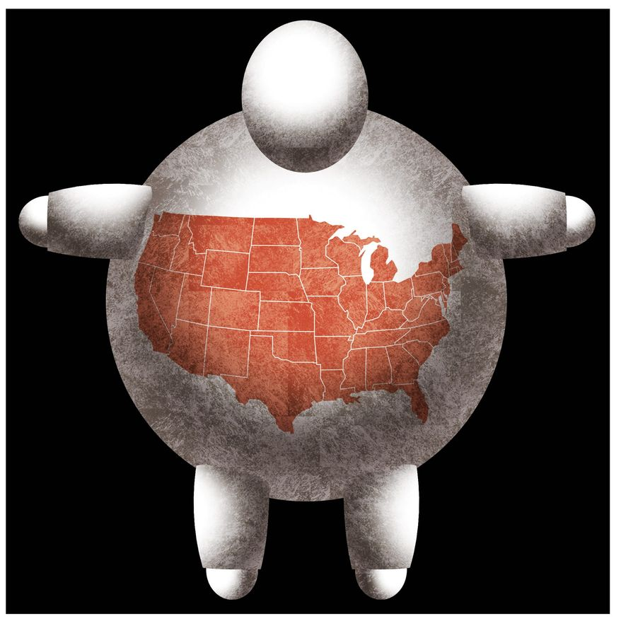 Illustration on the threat of obesity in America by Alexander Hunter/The Washington Times