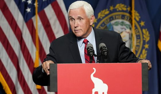 Former Vice President Mike Pence speaks at the annual Hillsborough County NH GOP Lincoln-Reagan Dinner, Thursday, June 3, 2021, in Manchester, N.H. (AP Photo/Elise Amendola) **FILE**