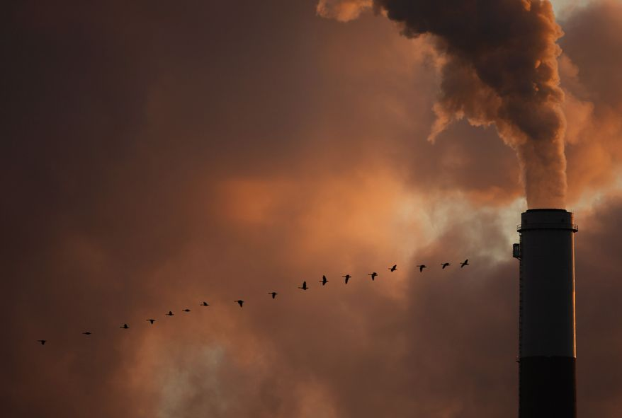 In this Jan. 10, 2009, file photo, a flock of geese fly past a smokestack at a coal power plant near Emmitt, Kan.  (AP Photo/Charlie Riedel, File)  **FILE**