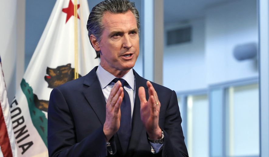 FILE - In this April 14, 2020, file photo, California Gov. Gavin Newsom discusses an outline for what it will take to lift coronavirus restrictions during a news conference at the Governor's Office of Emergency Services in Rancho Cordova, While California will end most coronavirus rules on June 15, Gov. Gavin Newsom said Friday, June 4, 2021 he will not lift the state of emergency that has been in place since March 2020. (AP Photo/Rich Pedroncelli, Pool, File)