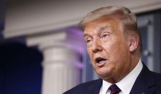In this Tuesday, Aug. 4, 2020, photo, President Donald Trump speaks during a briefing with reporters in the James Brady Press Briefing Room of the White House, in Washington. (AP Photo/Alex Brandon) **FILE**