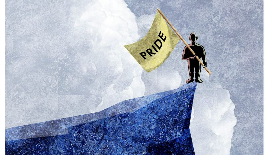 Illustration on the sin of pride by Alexander Hunter/The Washington Times