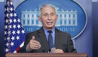 In this April 13, 2021, photo, Dr. Anthony Fauci, director of the National Institute of Allergy and Infectious Diseases, speaks during a press briefing at the White House in Washington. (AP Photo/Patrick Semansky)